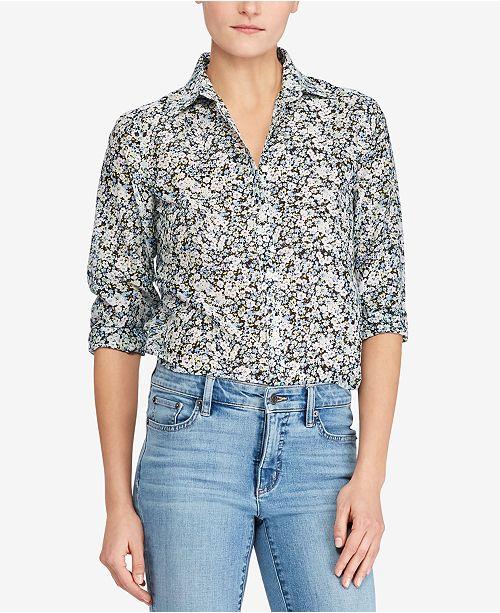 4a89850603b86 Lauren Ralph Lauren Floral-Print Shirt   Reviews - Tops - Women ...