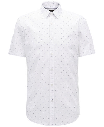BOSS Men's Slim-Fit Anchor-Print Cotton Sport Shirt
