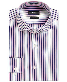 BOSS Men's Slim-Fit Striped Cotton Dress Shirt