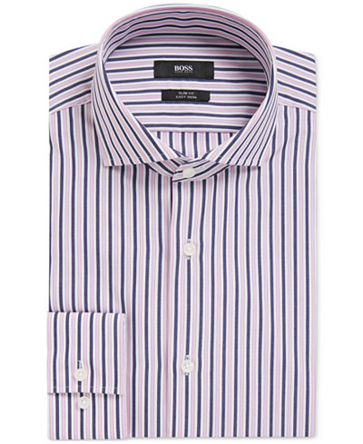 BOSS Men's Slim-Fit Striped Cotton Dress Shirt