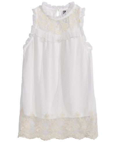 Beautees Victorian Embroidered Top, Big Girls