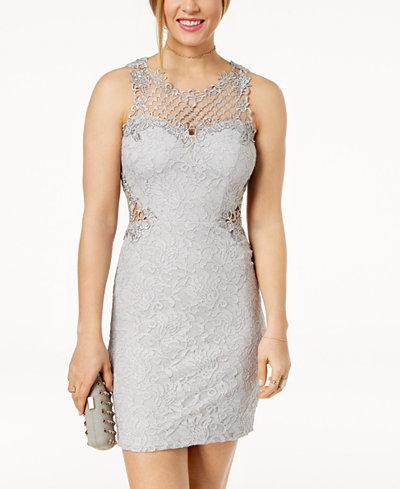 City Studios Juniors' Glitter Lace Bodycon Dress