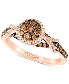 Le Vian Chocolatier® Diamond Cluster Halo Ring (5/8 ct. t.w.) in 14k Rose Gold