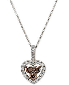 "Le Vian Chocolatier® Diamond Heart 18"" Pendant Necklace (1 ct. t.w.) in 14k White Gold"
