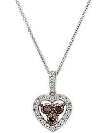 "Le Vian Chocolatier® Diamond Heart 18"" Pendant Necklace (1 ct. t.w.) in 14k White Gold"