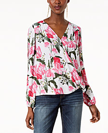 I.N.C. Petite Printed Surplice Split-Sleeve Top, Created for Macy's