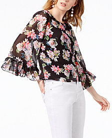 I.N.C. Ruffled Floral-Print Top, Created for Macy's