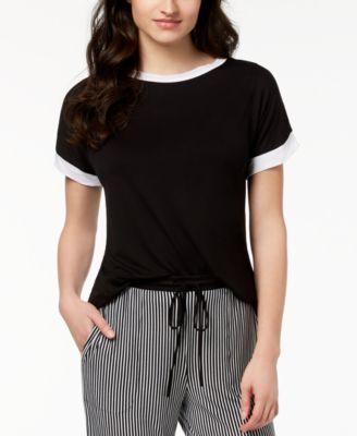 Contrast-Trim Pajama Top