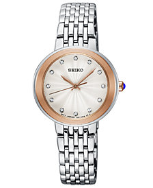 Seiko Women's Crystal Stainless Steel Bracelet Watch 28.5mm