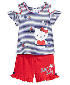 Hello Kitty 2-Pc. Cold Shoulder Top & Shorts Set, Little Girls