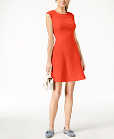 Maison Jules Cap-Sleeve Fit & Flare Dress, Created for Macy's