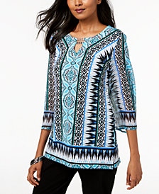 JM Collection Petite Printed Embellished Keyhole Tunic, Created for Macy's