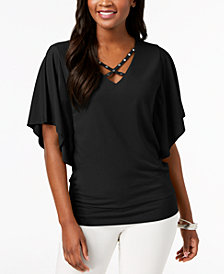 JM Collection Petite Cross-Neck Butterfly-Sleeve Top, Created for Macy's