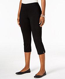 JM Collection Crochet-Lace Appliqué Capri Pants, Created for Macy's