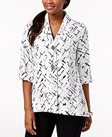 JM Collection Crinkled 3/4-Sleeve Jacket, Created for Macy's
