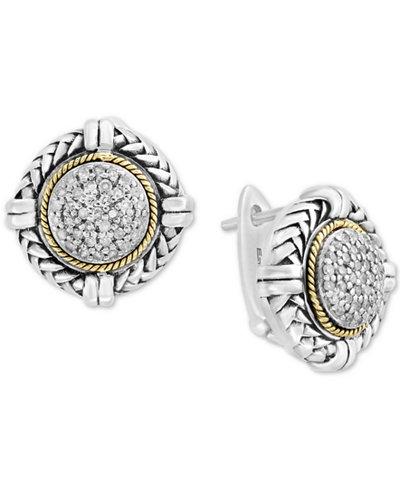 Balissima by EFFY® Diamond Cluster Stud Earrings (1/4 ct. t.w.) in Sterling Silver & 18k Gold
