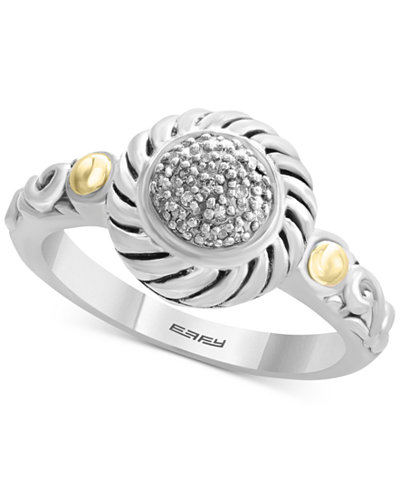Balissima by EFFY® Diamond Accent Two-Tone Ring in Sterling Silver & 18k Gold