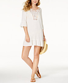 Roxy Cacti Tazia Bell-Sleeve Embroidered Cover-Up
