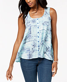 Style & Co Petite Printed Button-Front Top, Created for Macy's
