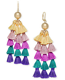 I.N.C. Gold-Tone Ball & Multicolor Tassel Chandelier Earrings, Created for Macy's