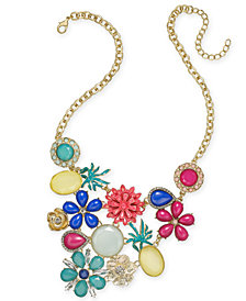 "I.N.C. Gold-Tone Multi-Stone Flower & Fruit Statement Necklace, 18"" + 3"" extender, Created for Macy's"