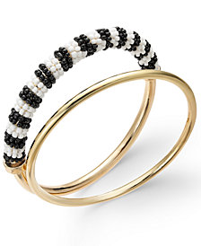 Trina Turk x I.N.C. Gold-Tone 2-Pc. Set Classic & Beaded Bangle Bracelets, Created for Macy's