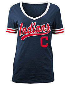 5th & Ocean Women's Cleveland Indians Retro V-Neck T-Shirt