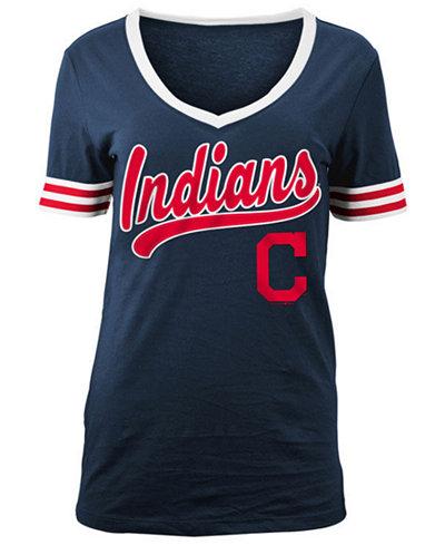 5th & Ocean Women's Cleveland Indians Retro V-Neck T-Shirt