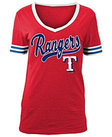 5th & Ocean Women's Texas Rangers Retro V-Neck T-Shirt