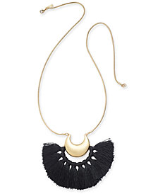"Trina Turk x I.N.C. Gold-Tone Tassel Crescent 32"" Pendant Necklace, Created for Macy's"