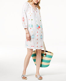 Charter Club Linen Embroidered Peasant Dress, Created for Macy's