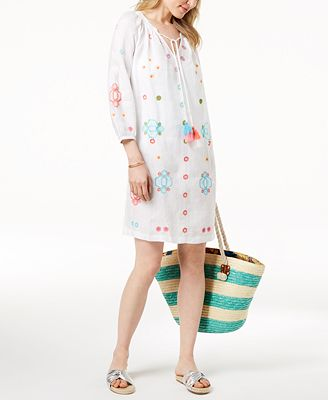 Charter Club Linen Embroidered Peasant Dress Created For Macy S