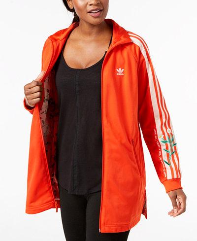 adidas Originals Embroidered Long-Line Track Jacket