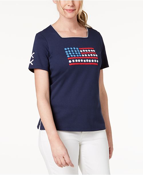 Neck Square Alfred Cup Navy Dunner Embroidered America's T Shirt wxqvpq6