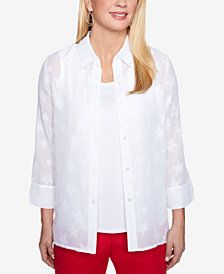 Alfred Dunner Petite Layered-Look Stars Top