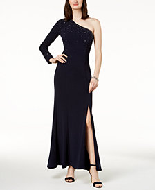 Vince Camuto Embellished One-Shoulder Gown