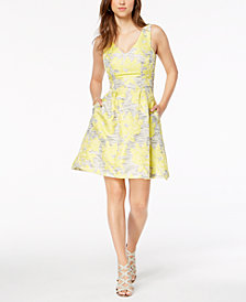 Donna Ricco Embroidered Fit & Flare Dress