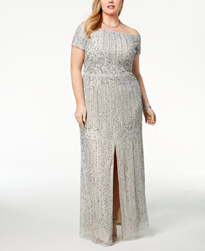 Adrianna Papell Plus Size Embellished Off-The-Shoulder Gown