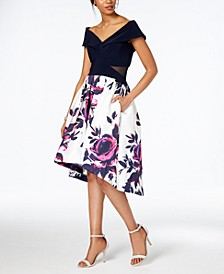 Petite Off-The-Shoulder Floral-Print Dress