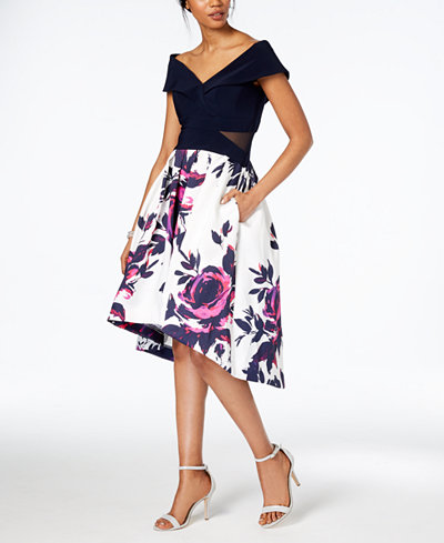 XSCAPE Floral-Print High-Low Dress