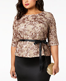 Alex Evenings Plus Size Sequined Lace Top