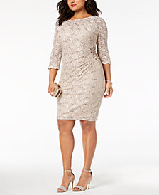 Alex Evenings Plus Size Sequined Lace Dress