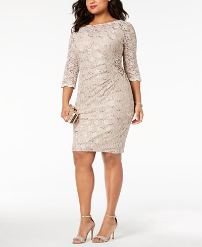 Alex Evenings Plus Size Sequined Lace Dress