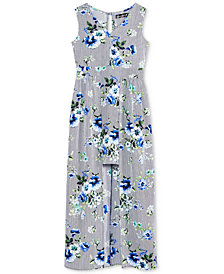 Crystal Doll Floral-Print Maxi-Overlay Dress, Big Girls