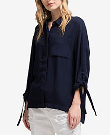 DKNY Tie-Sleeve High-Low Shirt