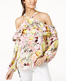 I.N.C. Petite Floral-Print Cold-Shoulder Top, Created for Macy's