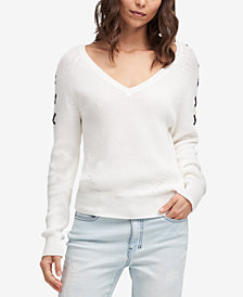 DKNY Cotton Lace-Up Sleeve Sweater