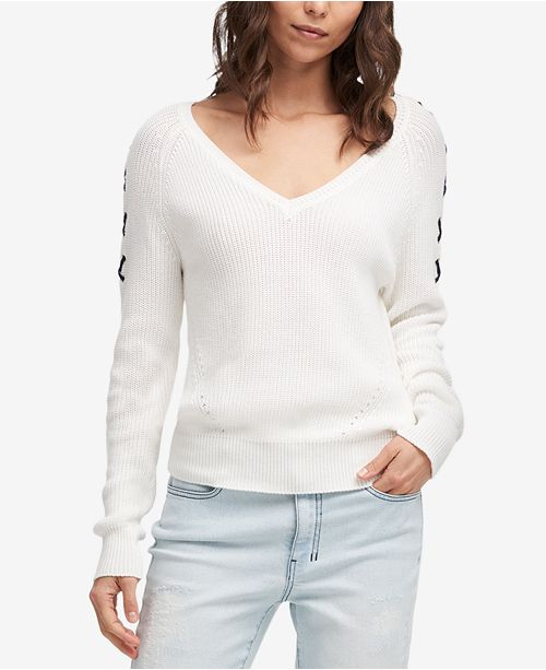 Cotton Lace-Up Sleeve Sweater