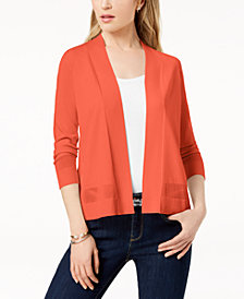 Charter Club Petite Open-Front Stitched-Detail Cardigan, Created for Macy's