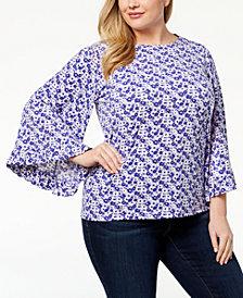MICHAEL Michael Kors Plus Size Floral-Print Bell-Sleeve Top